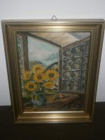 Bild - Gemalt - Sonnenblumen am Fenster - Bosch 1955 -...