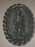 Wandbild - Zinnbild - Maria mit Jesukind - Oval - 22,5 x...