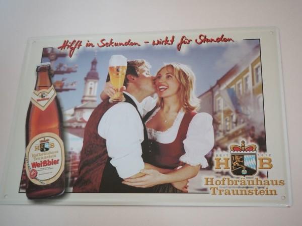 Blechschild - Hofbräuhaus Traunstein - Hilft in Sekunden ... - ca. 35 x 25 cm