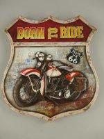 3D Blechschild - Born to Ride - Motorrad - Route 66 - 42...