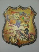 Blechschild - Wandschild - PinUp Girl - Motorrad - Route...