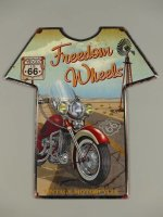 Blechschild - Wandschild - Freedom Wheels - Motorrad -...
