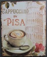 Blechschild - Wandschild - Cappuccino in Pisa - 20 x 25 cm