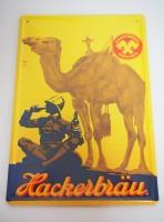 Blechschild - Hackerbräu München - Kamel - 16,5...