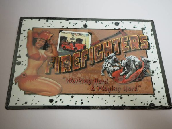 Blechschild - Firefighters - Working Hard & Playing Hard - 42,5 x 30 cm