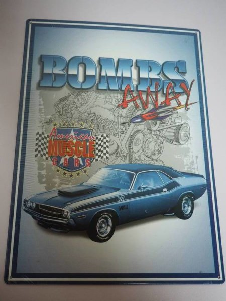 Blechschild - Bombs away - American Muscle Cars - 29,5 x 42 cm
