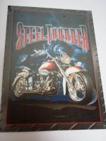 Blechschild - Steel Thunder - Motorrad - Zug - 32 x 44 cm