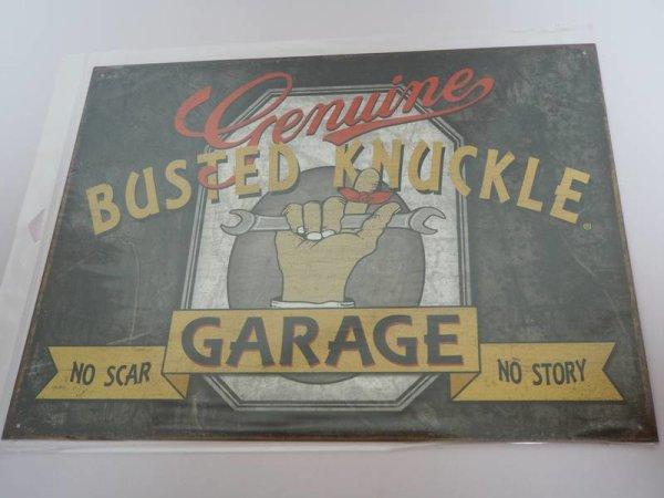 Blechschild - Genuine Busted Knuckle - Garage - No scar No story - 40,5 x 31,5 cm