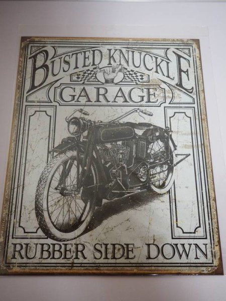 Blechschild - Busted Knuckle Garage - Rubber Side Down - 31,5 x 40,5 cm