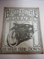 Blechschild - Busted Knuckle Garage - Rubber Side Down -...