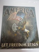 Blechschild - America - Let Freedom reign - 31,5 x 40,5 cm