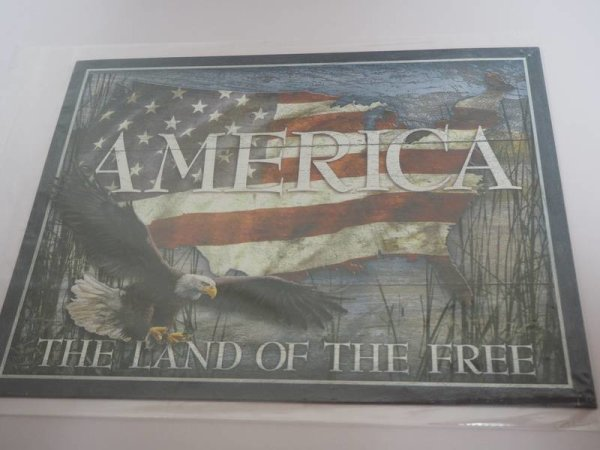Blechschild - America - The Land of the Free - 40,5 x 31,5 cm