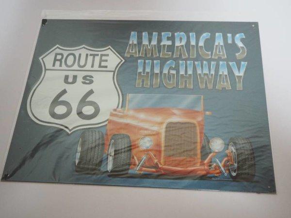 Blechschild - America´s Highway - Route 66 - 41 x 32 cm