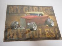 Blechschild - My Garage My Rules - 40,5 x 32 cm