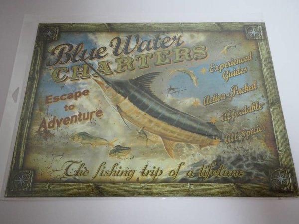 Blechschild - Blue Water Charters - Escape to Adventure - 40,5 x 32 cm
