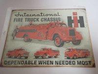 Blechschild - International Fire Truck Chassis -...