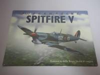 Blechschild - Supermarine Spitfire V - Flugzeug - 40 x 30 cm