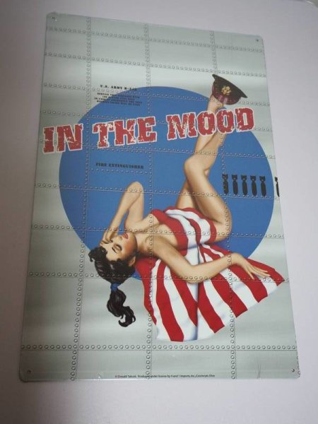 Blechschild - In the Mood - US Army - Pin-Up Girl  - 27,5 x 43 cm