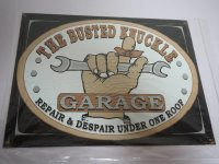 Blechschild - The Busted Knuckle Garare - Repair &...