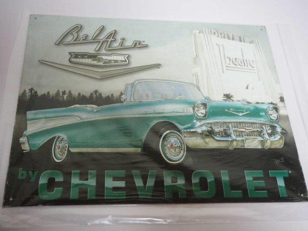 Blechschild - Bel Air - by Chevrolet - 40,5 x 31,5 cm