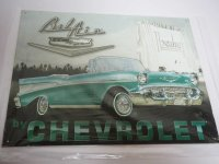 Blechschild - Bel Air - by Chevrolet - 40,5 x 31,5 cm