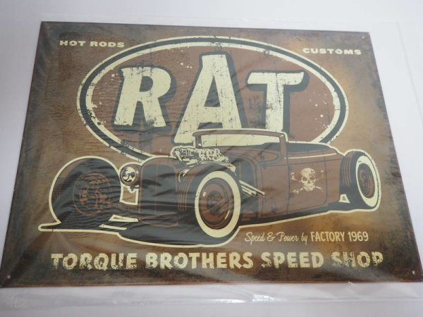 Blechschild - Hot Rods Customs Rat - Torque Brothers Speed Shop - 40,5 x 31,5 cm