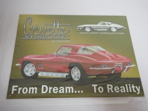Blechschild - Corvette Sting Ray by Chevrolet - 40,5 x 31,5 cm