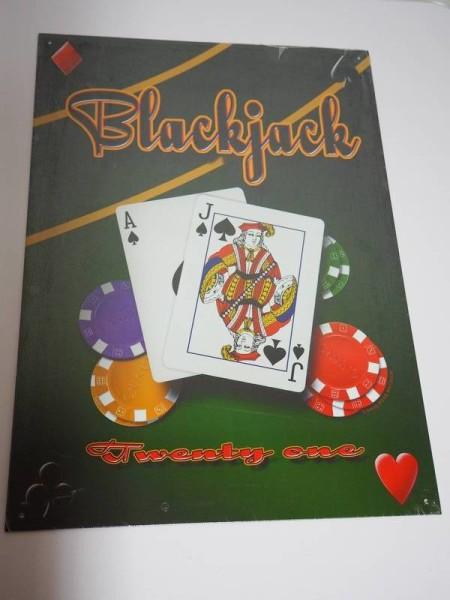 Blechschild - Blackjack - Black Jack - Twenty one - 31,5 x 44 cm
