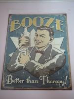 Blechschild - Booze - Better than Therapy - 31,5 x 40,5 cm