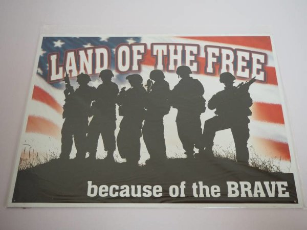 Blechschild - Land of the Free because of the Brave - 40,5 x 31,5 cm