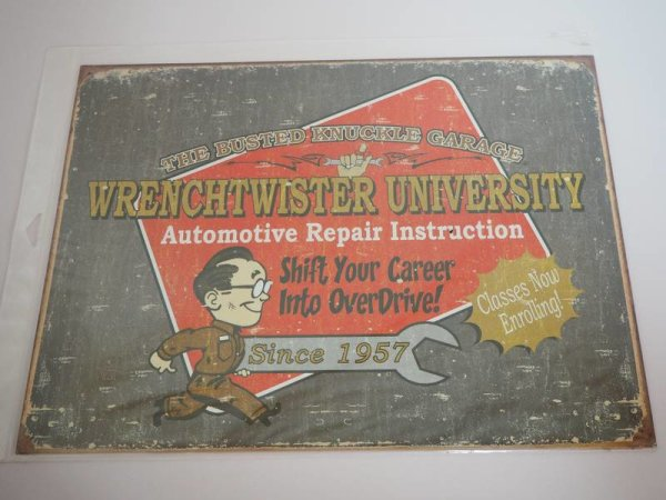 Blechschild - Busted Knuckle Garage - Wrenchtwister University - 40,5 x 31,5 cm