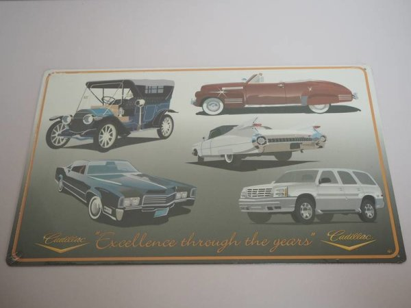 Blechschild - Cadillac - Excellence through the years - 45,5 x 29 cm