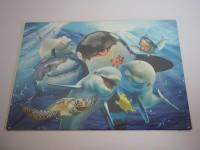Blechschild - Meerestiere - Delfin - Wal - 40 x 30 cm