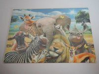 Blechschild - Afrika Tiere - Elefant - Giraffe - 40 x 30 cm