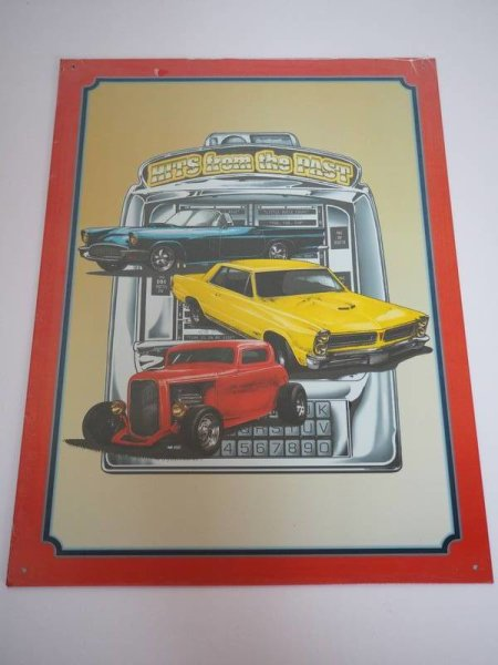 Blechschild - Hits from the Past - Auto Klassiker - 31,5 x 44 cm