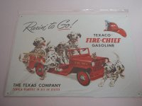 Blechschild - Texaco Gasoline Fire Chief - 40,5 x 31,5 cm