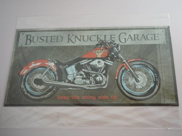 Blechschild - Busted Knuckle Garage - Keep the shiny side up - 40,5 x 21,5 cm