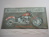 Blechschild - Busted Knuckle Garage - Keep the shiny side...