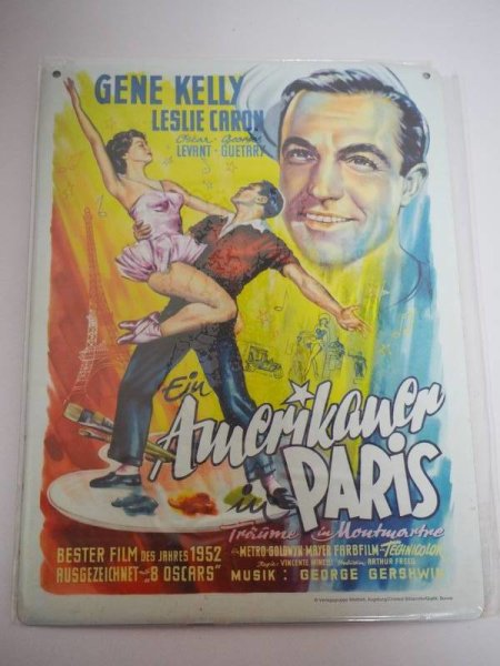 Blechschild - Gene Kelly - Ein Amerikaner in Paris - 14,5 x 20,5 cm