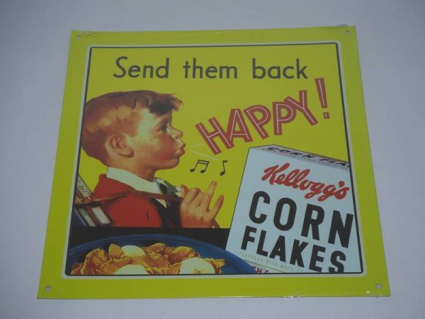 Blechschild - Kellogg´s - Send them back happy! - 21 x 21 cm