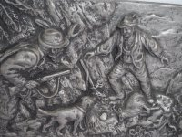 Wandbild - Zinnbild - Jäger mit Hund - 30 x 22 cm